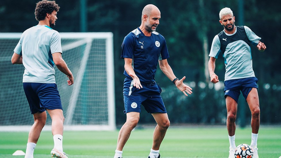 TRAINING TIPS: Pep Guardiola gives out some instructions