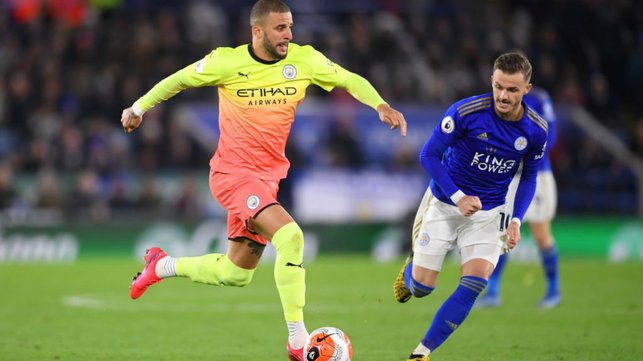 POWER PLAY: Kyle Walker surges forward for City