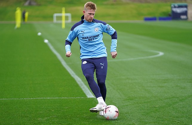 PASS MASTER: Kevin De Bruyne was quickly back into his passing drills