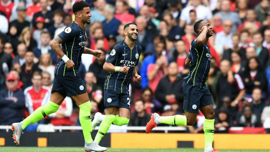 RAZZLE DAZZLE : Sterling scores against Arsenal