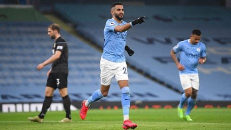 HATS OFF TO RIYAD: Mahrez celebrates after completing his hat-trick