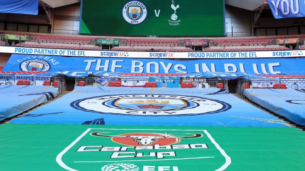 BLUE WEMBLEY : The City flags shine bright for the final.