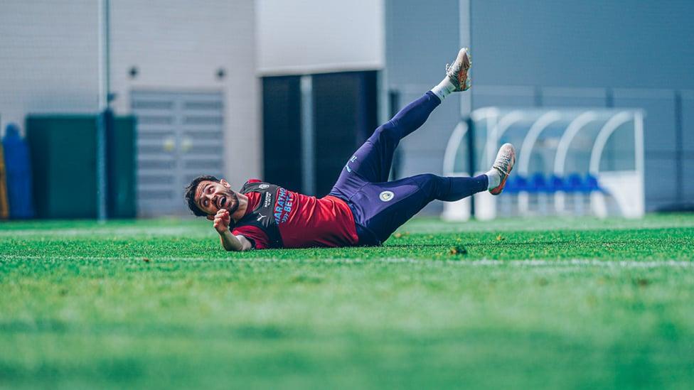 AT FULL STRETCH: Bernardo Silva strains every sinew!