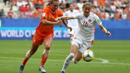 TUSSLE: Janine Beckie battles for the ball as Canada faced the Netherlands at the World Cup.
