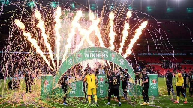 MARÇO DE 2020 : O City conquistou a Copa da Liga pela quinta vez em sete anos, ao derrotar o Aston Villa por 2 a 1 no Estádio de Wembley.