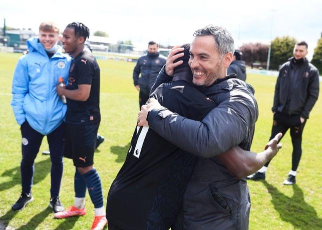 LEADING MAN: Head coach Carlose Vicens celebrates with goal scorer Carlos Borges