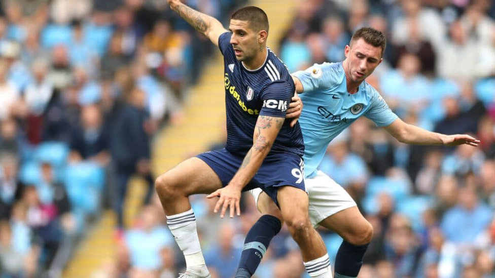 IN CONTROL : The excellent Laporte keeps close tabs on Mitrovic