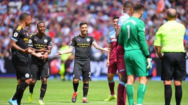DISBELIEF : VAR denies City a third goal.