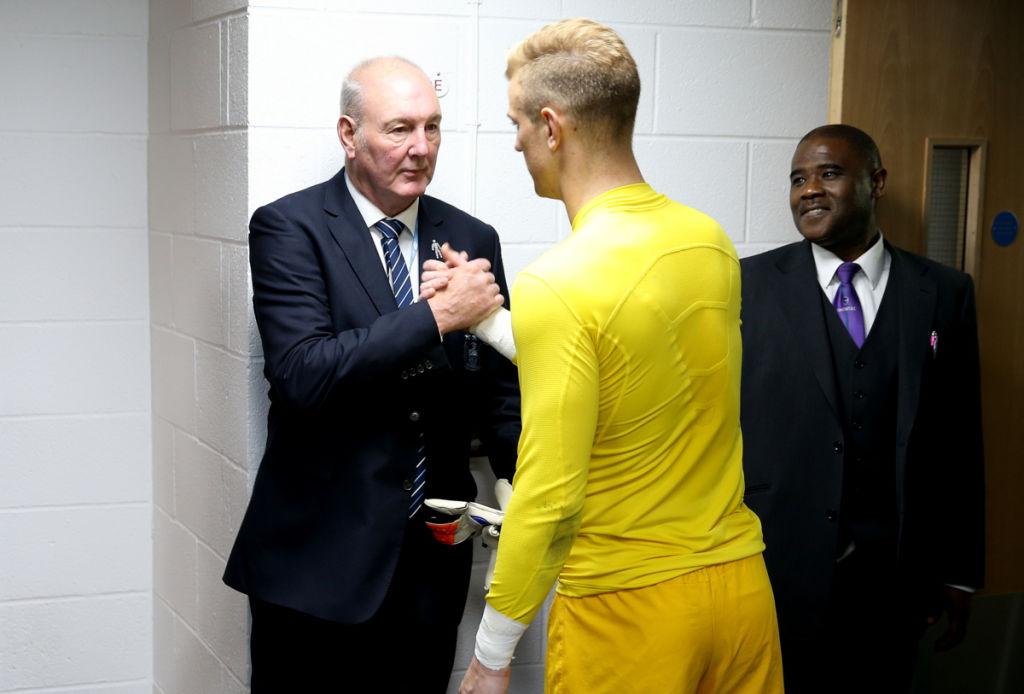 ONE KEEPER TO ANOTHER : Joe Corrigan greets Joe Hart at the Etihad Stadium.