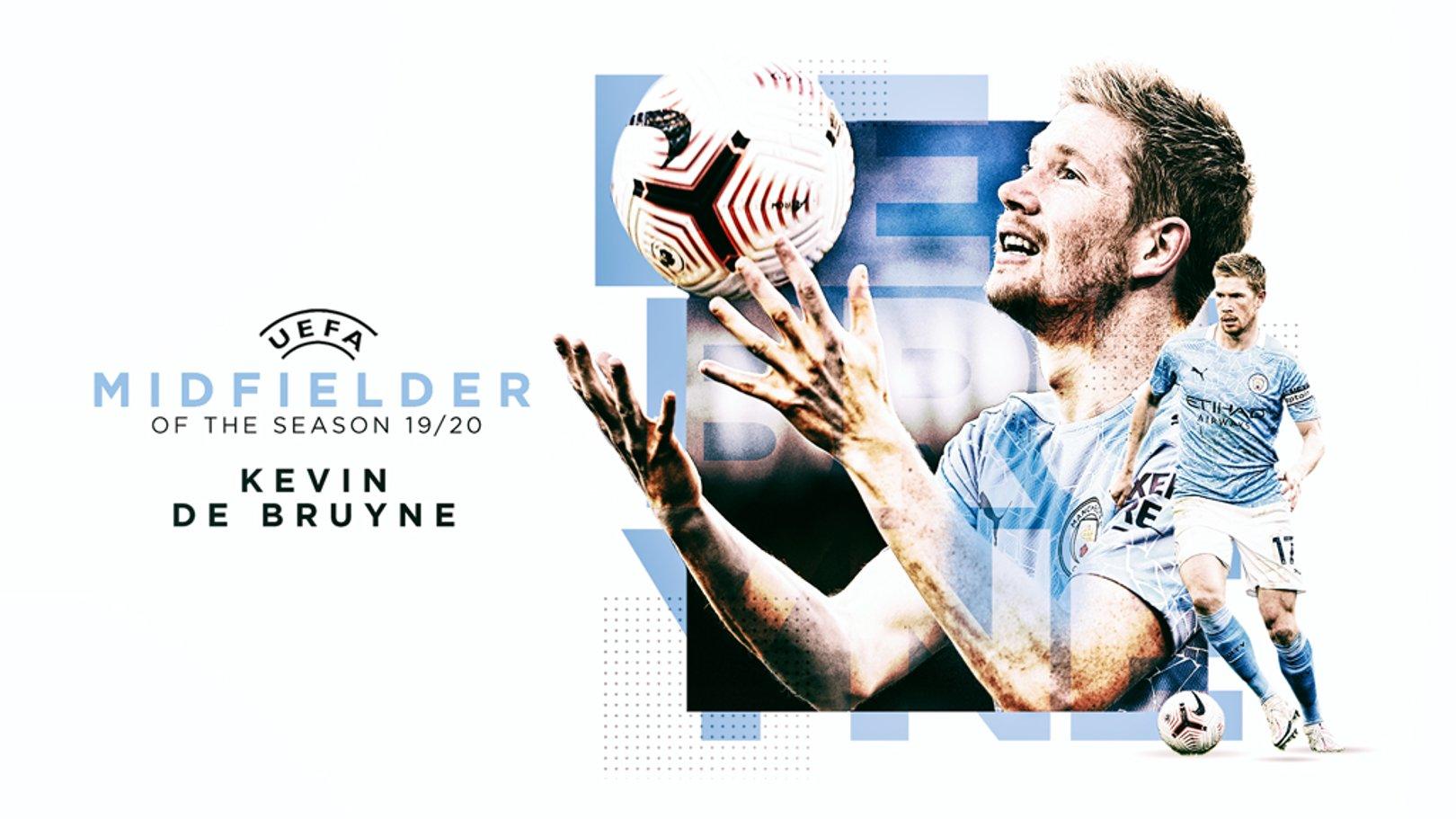 UEFA 이번 시즌의 미드필더에 뽑힌 데 브라위너