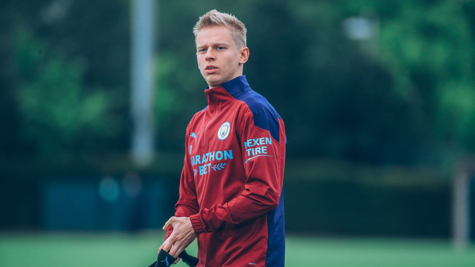 GAME FACE : Oleksandr Zinchenko looks in the zone in Friday's session.