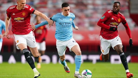 FLYING PHIL: Our midfielder races away from Scott McTominay and Aaron Wan-Bissaka