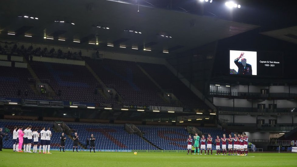 REMBERING A HERO : Both teams pay their respects to national treasure, Captain Sir Tom Moore after his passing this week.