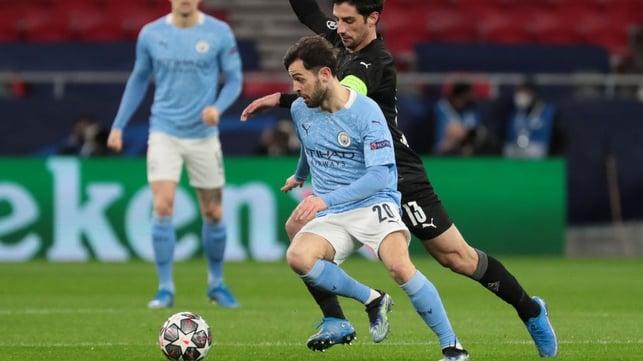 PACE TO BERN: Bernardo Silva breaks forward under pressure from Lars Stindl