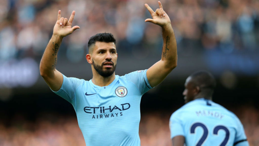 150 : Sergio Aguero celebrates after netting his  150th Premier League goal for the Blues