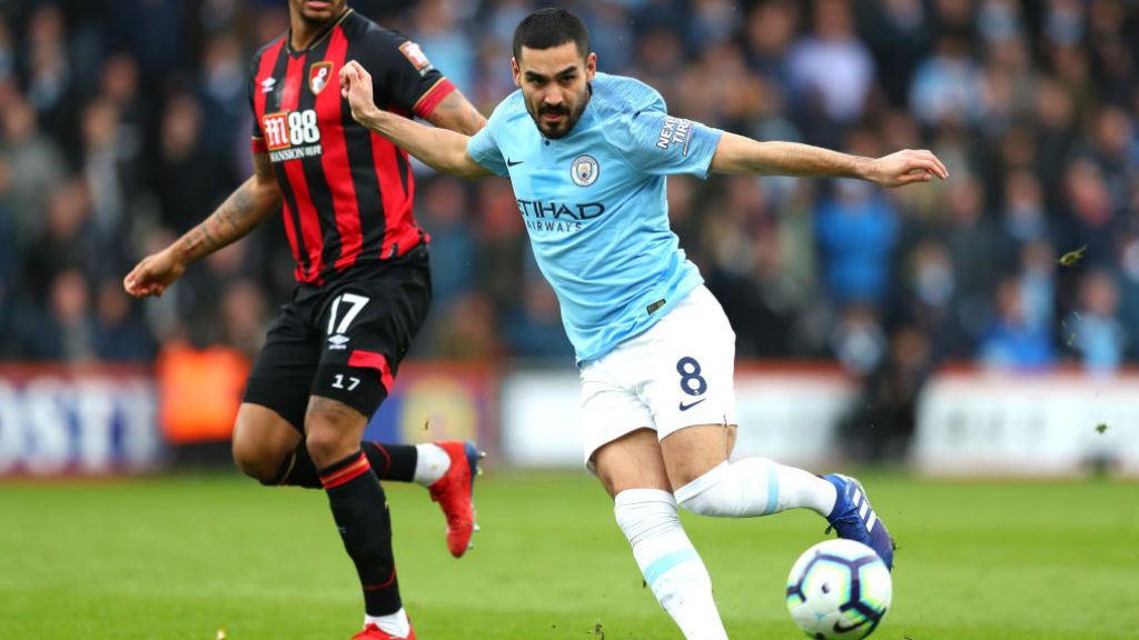 CENTURY MAN : Ilkay Gundogan in the thick of the action on his 100th appearance for the Blues