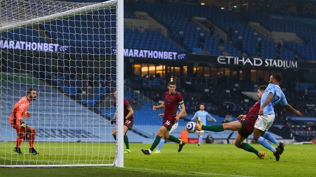 OPENER: Leander Dendoncker puts the ball into his own net under pressure from Raheem Sterling