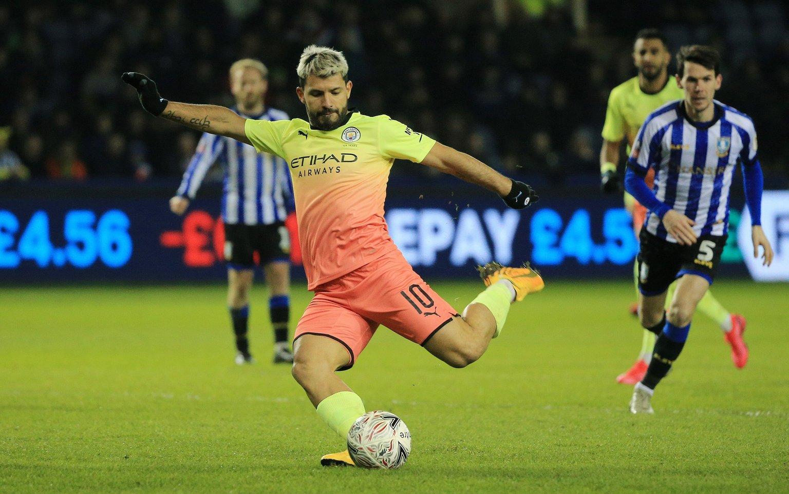 Sergio Aguero playing at Sheffield Wednesday