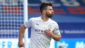 Sergio Aguero reacts to his goal scoring return
