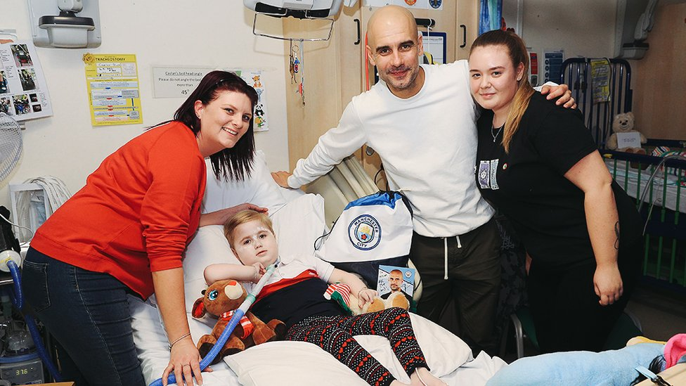 THE BOSS : Pep visits some of the patients at RMCH