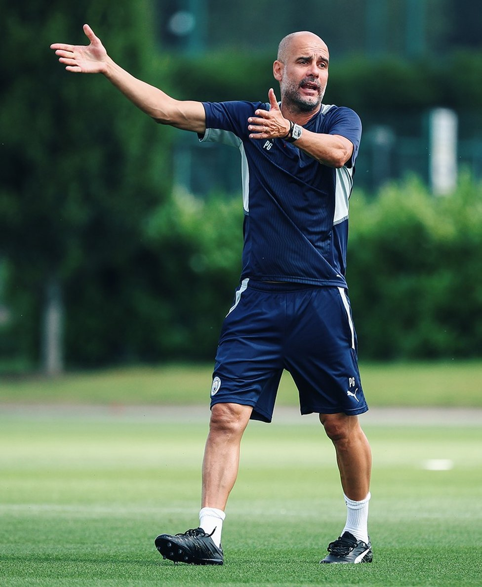 BOSSING IT: Pep dishes out instructions from the sideline