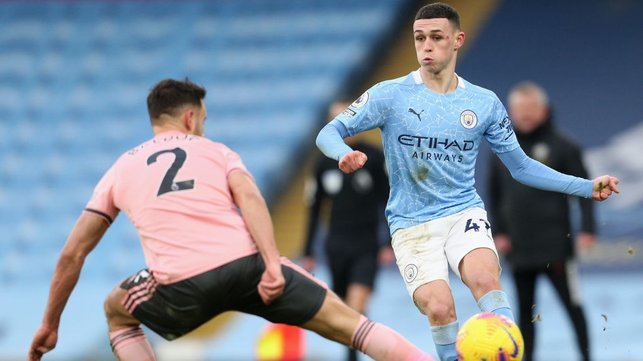 PHIL-ING IT : Foden looks to inspire us to a second goal as the visitors remain firm.