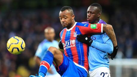 BATTLE: Benjamin Mendy challenges Jordan Ayew for possession