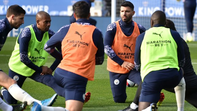 GET LOOSE : Sergio and co stretch their muscles ahead of kick off.