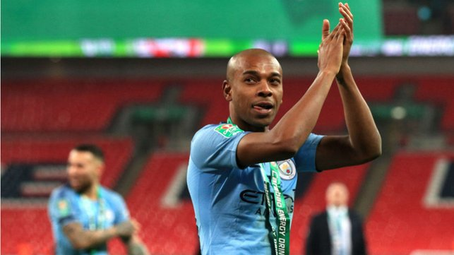 HAND IT TO CITY : Another Wembley final and another winners' medal for Fernandinho - this time after our 2019 Carabao Cup final victory against Chelsea