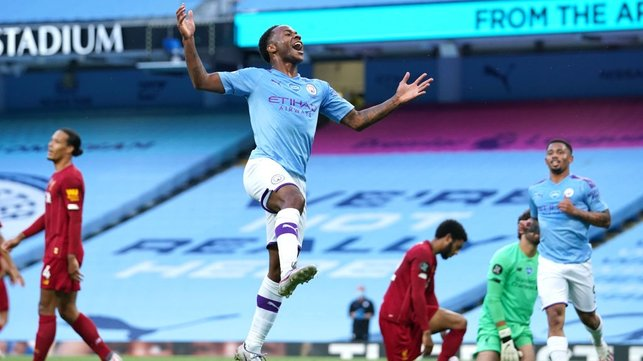 DOUBLE TROUBLE : Sterling celebrates his accurate finish just after the half-hour mark.