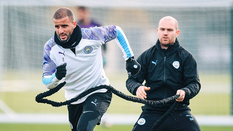 AT FULL STRETCH : Kyle Walker powers through Tuesday's session