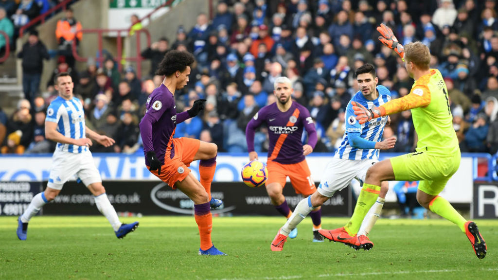 THREE CHEERS : Leroy Sane finishes off a superb move to register our third goal