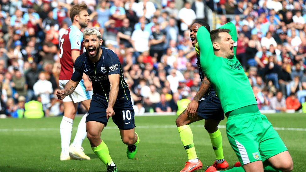 RELIEF : Sergio wheels away after scoring against Burnley.