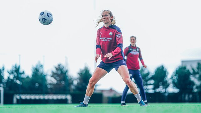 BALL WATCHING : Sam Mewis in full concentration in Wednesday's session.
