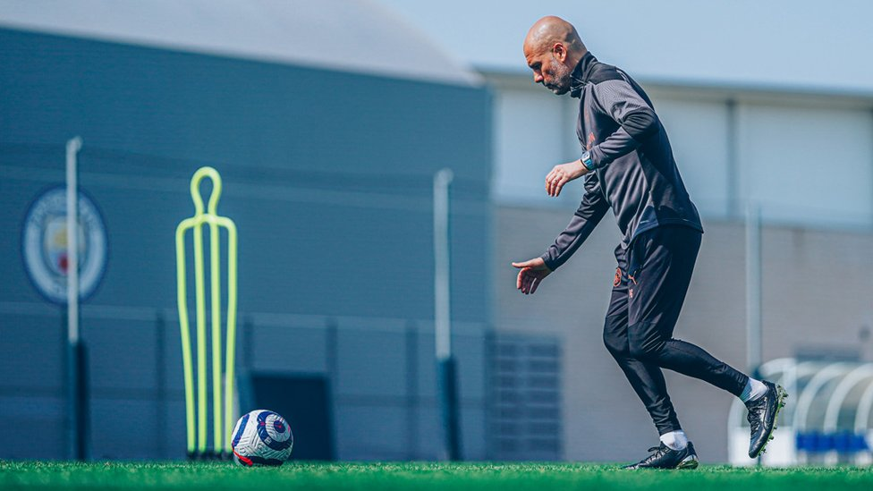 THE BOSS: Pep Guardiola shows he's not lost any of the skills that made him such a wonderful player