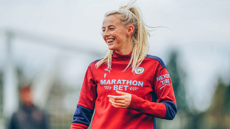 BUZZING FOR BARCA : Chloe Kelly in high spirits after her late winner at the weekend!
