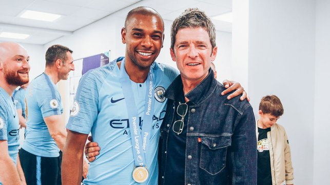 TUNES OF GLORY : Fernandinho and Noel Gallagher celebrate our 2019 Premier League success