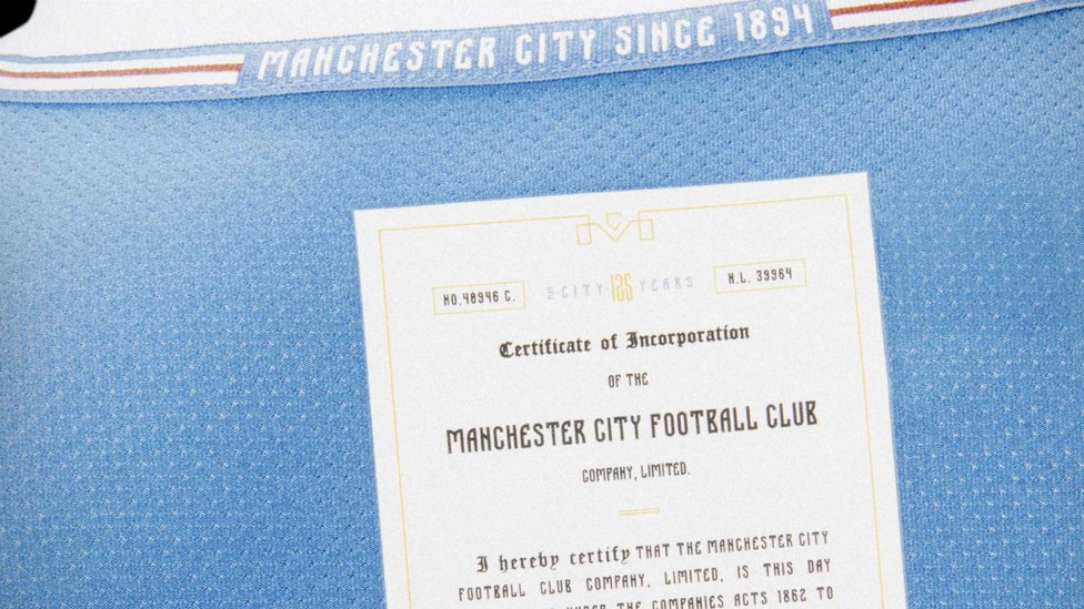 CELEBRATION : 46% of fans chose the commemorative wording of 'Manchester City since 1894', which features above a copy of the Club's founding document, signed by Joshua Parlby.
