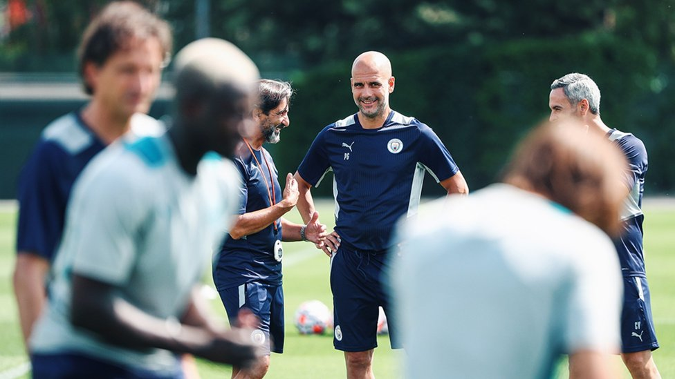 BOSSING IT: Pep Guardiola watches on