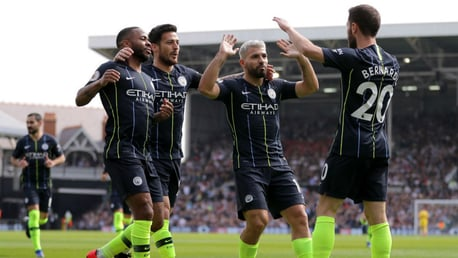 JUST CAPITAL: The City players celebrate after Bernardo's brilliant opener