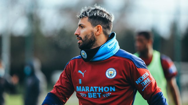 FORWARD MARCH: Sergio Aguero was in the thick of things during Monday's session