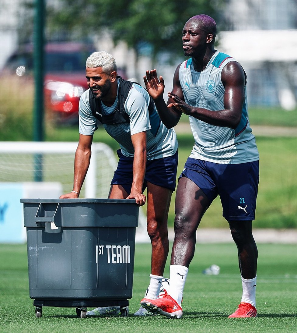 TWO'S COMPANY: Riyad Mahrez and Benjamin Mendy emerged victorious from a light-hearted drill in today's session