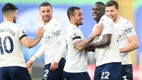 MAIN MAN: Mendy is the centre of attention after just his second goal of the season.