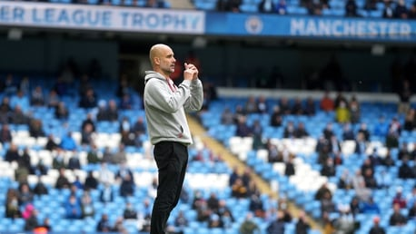 THE BOSS: Pep watches on from the sideline.