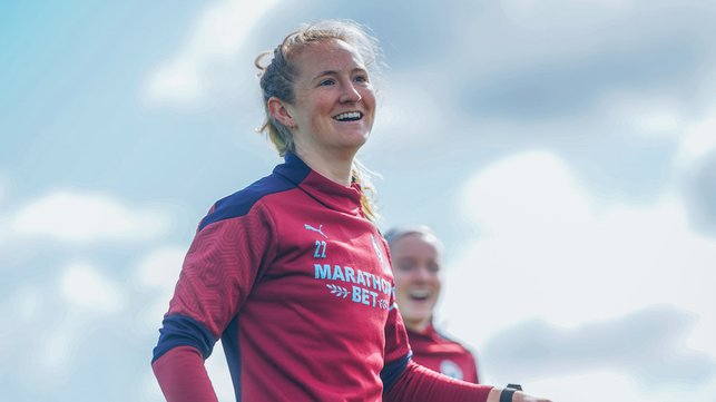 FUN IN THE SUN: Sam Mewis shows off her pearly whites
