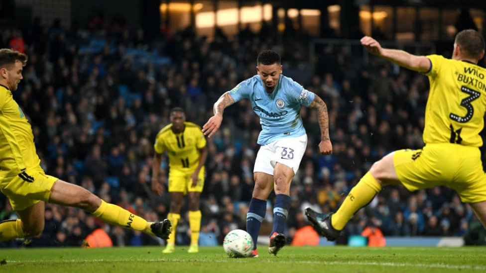 ACE OF BRACE : Gabriel Jesus doubles his tally for the night with a crisp finish