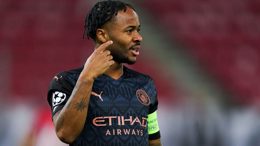 Leading by example : Raheem Sterling wore the skipper's armband