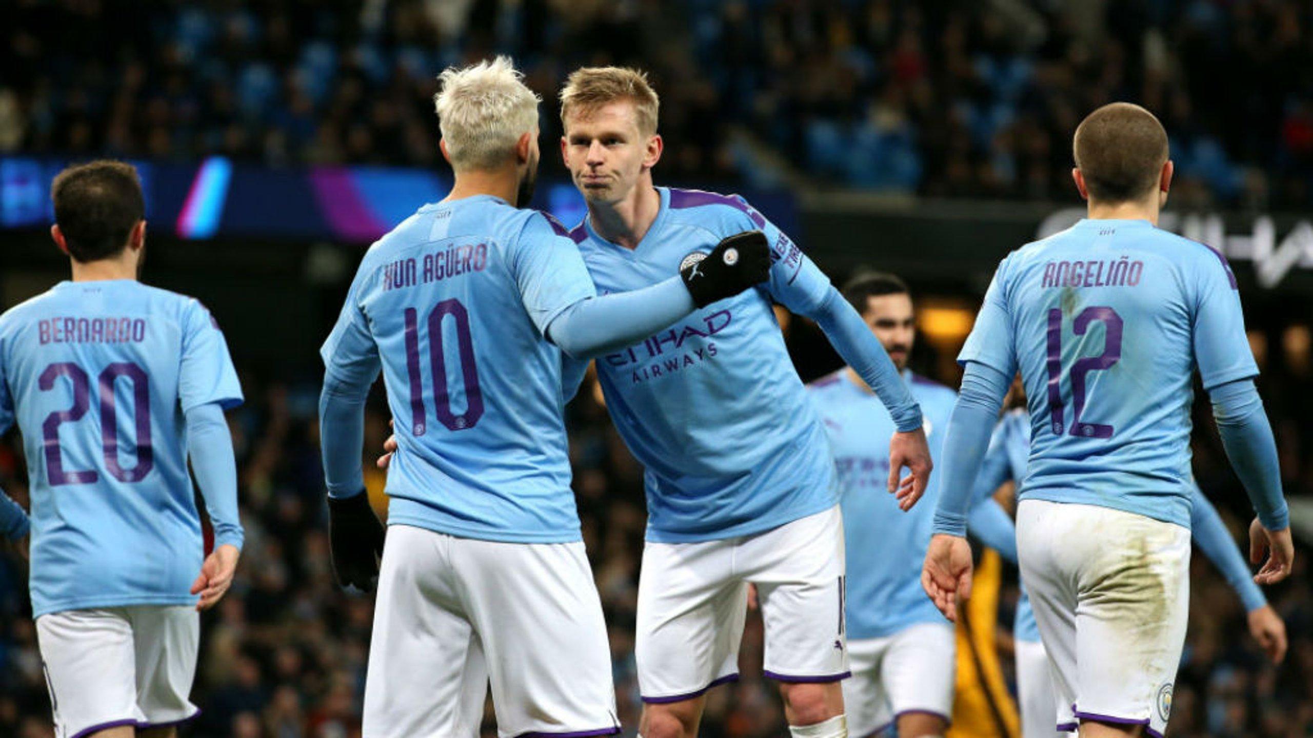 TWO'S COMPANY: Zinchenko salutes fellow goal scorer Aguero