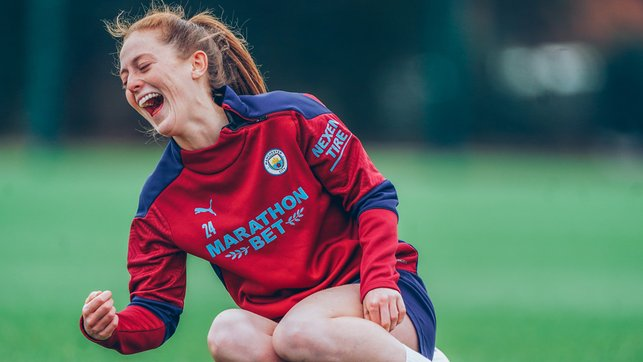 FIT OF GIGGLES : It's all too much for Keira Walsh!