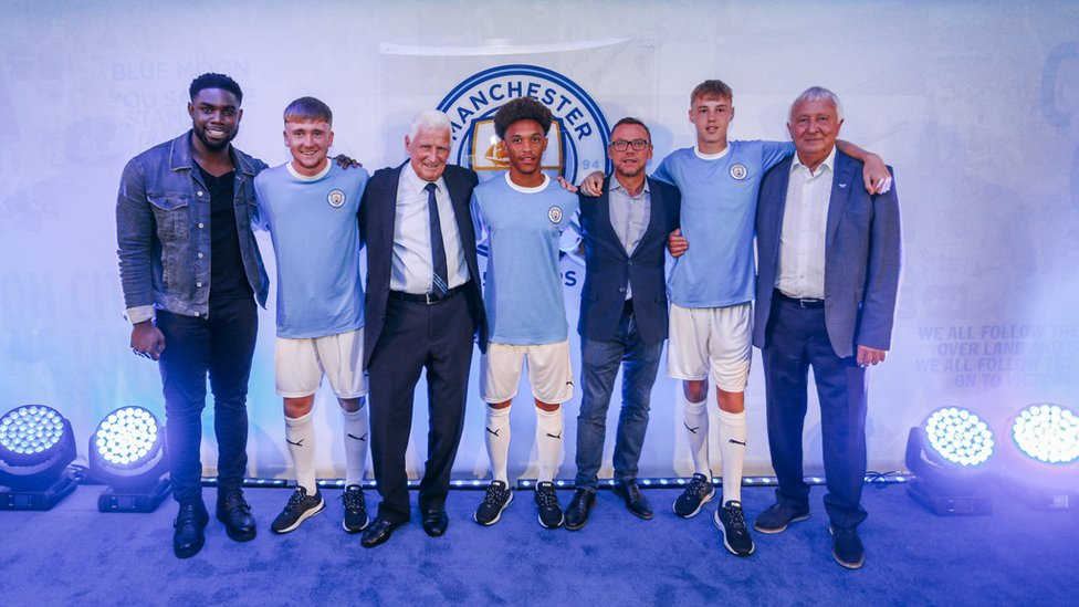 TRUE BLUES : Micah Richards, Tommy Doyle, Tony Book, D'Margio Wright-Phillips, Paul Dickov, Cole Palmer and Mike Summerbee at Wednesday's 125 kit unveiling